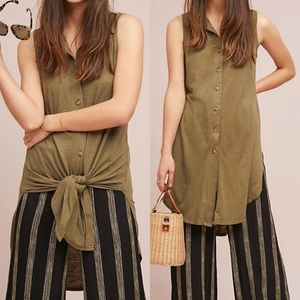 Anthro t.la Olive Gambier button up tie tunic S
